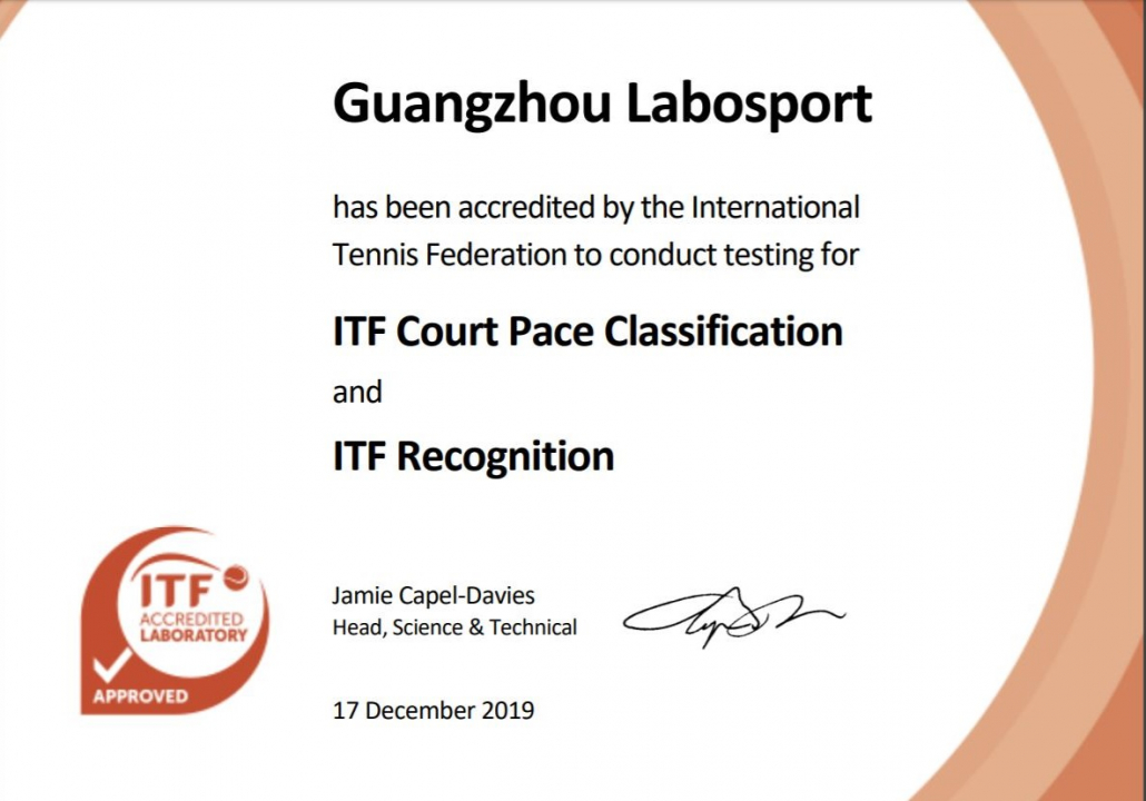 Labosport china ITF accredited